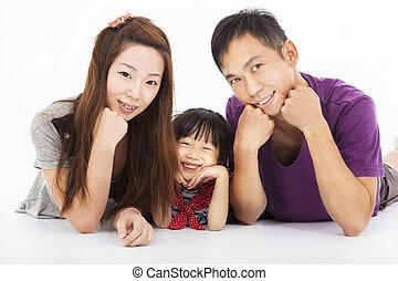 biały, szczęśliwy, odizolowany, rodzina, asian