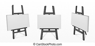 biały, sztaluga, czarnoskóry, wektor, płótno, drewniany