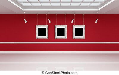 biały, sztuka galeria, czerwony