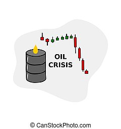 biały, tło., na dół, baryłka, strzała, kryzys, odizolowany, concept., upadek, świat, nafta