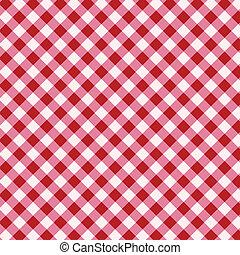 biały, tablecloth, czerwony