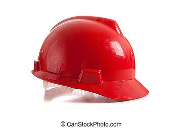 biały, twardy kapelusz, czerwony