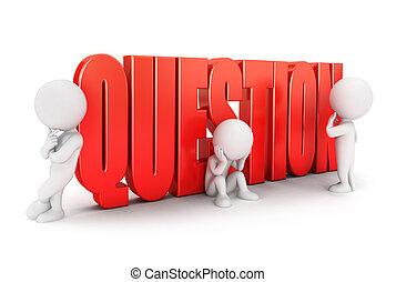 biały, ważny, pytanie, 3d, ludzie