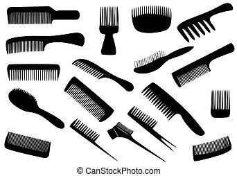 biały, wektor, narzędzia, odizolowany, fryzjer