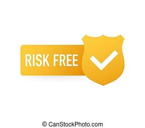 biały, wektor, tło., illustration., wolny, etykieta, gwarantować, ryzyko