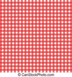 biały, zaszachowany, tablecloth, czerwony