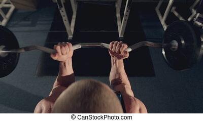 biceps, sala gimnastyczna, muskularny, barbell, ruch, człowiek