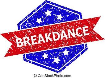 bicolor, powierzchnia, tłoczyć, wyżarty, sześciokątny, breakdance