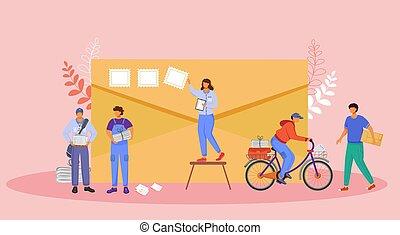 bicycle., paperboy, rysunek, paczki, kolor, pracownicy, litera, illustration., odbiór, kobieta, płaski, odizolowany, biuro, pieczęcie, tło, envelope., delivery., różowy, poczta, kieruje, wektor, służba