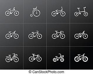 bicycles, metaliczny, -, ikony