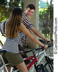 bicycles, para, młody