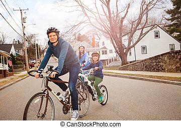 bicycles, rodzina, burłaczony, portret, tandem, syn