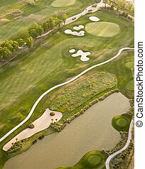 bieg, antena, golf, prospekt