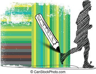 biegacz, abstrakcyjny, ilustracja, tło., wektor, rysunek, maraton