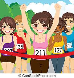 biegacz, atleta, samica, zwycięski