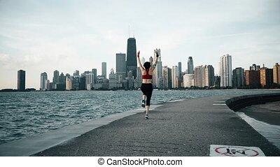 biegacz, exersises, atleta, wybrzeże