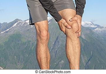 biegacz, kolano, ból