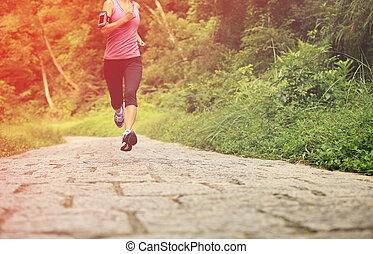 biegacz, las, atleta, wyścigi