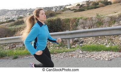 biegacz, wyścigi, kobieta, młody, stosowność