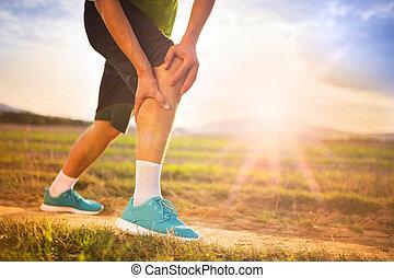 biegacz, wyrządzony, kolano