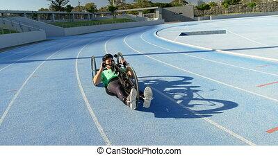 biegi, 4k, atleta, wheelchair, niepełnosprawny