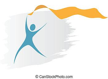 biegnie, copyspace, symbol, fałdzisty, osoba, swoosh, chorągiew, wstążka