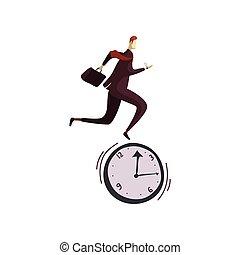 biegnie, ilustracja, tło., wektor, clock., garnitur, biały, człowiek