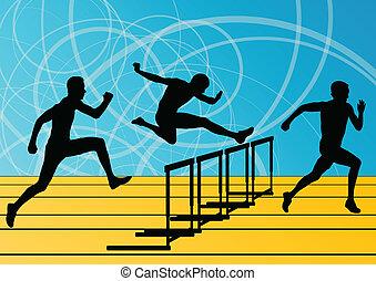 biegnie przez płotki, bariera, mężczyźni, sylwetka, ilustracja, wyścigi, wektor, zbiór, tło, czynny, atletyka, sport