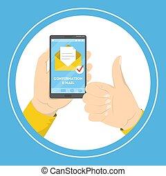 bierzmowanie, telefon, ruchomy, ręka, e-poczta, dzierżawa