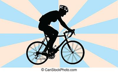 biker, wektor, -, tło