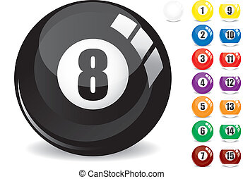 bila, 15, othe, -, odizolowany, ilustracja, snooker, wektor, osiem, biały, piłki, 8, odbicia, piętnaście, kałuża, czarnoskóry