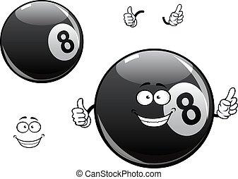 bilard, piłka, litera, osiem, snooker, rysunek, kałuża