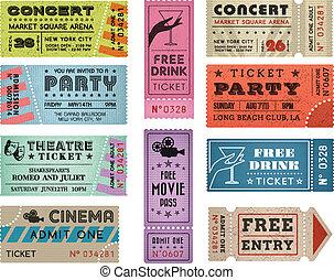 bilety, 3, wektor, grunge, zbiór