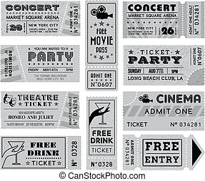bilety, grunge, grayscale, zbiór, 3, wektor