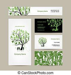bilety, handlowy, drzewo, projektować, rodzina
