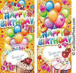 bilety, urodziny, pionowy, szczęśliwy