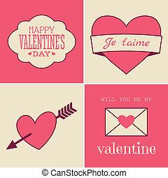 bilety, valentine, retro, dzień