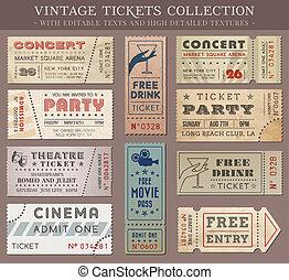 bilety, wektor, grunge, kino