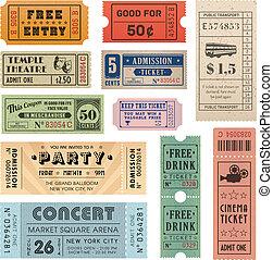 bilety, wektor, grunge