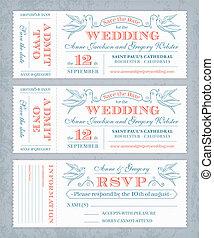 bilety, wektor, zapraszać, ślub