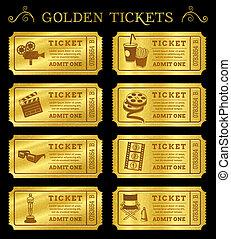 bilety, złoty, wektor, kino