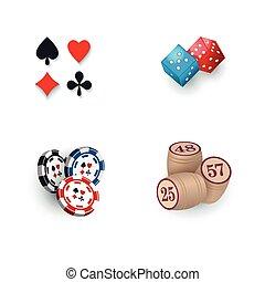 bingo, tokens, kasyno, -, symbolika, petycje, gra w kości, beczki