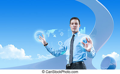 bio, styl, collection., pojęcia, młody, biznesmen, przyszłość, interior., interfejs, używając, hologram, futurystyczny, przystojny