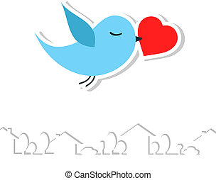bird., wektor, miłość, illustration.