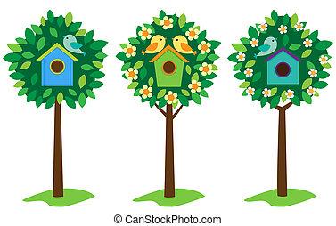 birdhouses, drzewa