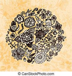 birds., lato, różny, robiony, grunge, rocznik wina, paper., motyle, flowers., ilustracja, okrągły, formułować, tło., jasny, wektor, liście, koło, kwiaty, szkice