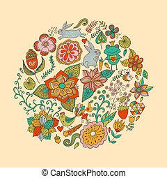 birds., lato, różny, robiony, rocznik wina, liście, motyle, jasny, ilustracja, okrągły, formułować, tło., flowers., wektor, koło, kwiaty, szkice