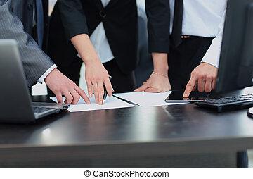 biuro, grupa, pracujący, handlowy zaludniają