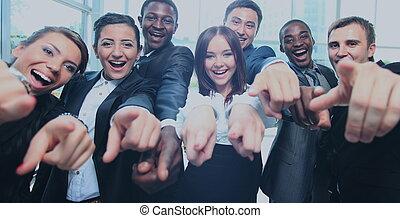 biuro, handlowy, do góry, multi-ethnic, kciuki, drużyna, szczęśliwy