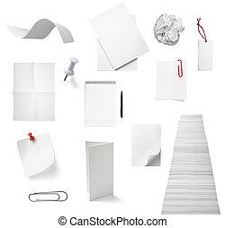 biuro, handlowy, notatnik, papier listowy, dokument